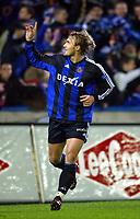 BRUGGE 13/12/2003<br /> SPORT - FOOTBALL - VOETBAL<br /> CLUB  BRUGGE -RAEC MONS - FC BRUGES - FCB -BERGEN<br /> BENGT SAETERNES-JOIE-VREUGDE, BENGT SÆTERNES<br /> PICTURE PHILIPPE CROCHET<br /> DIGITALSPORT