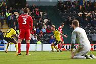Burton Albion midfielder David Templeton (11) scores a goal 4-3 during the EFL Sky Bet League 1 match between Burton Albion and Accrington Stanley at the Pirelli Stadium, Burton upon Trent, England on 23 March 2019.