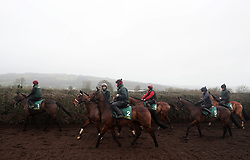 Bellshill (centre) during the stable visit to Willie Mullins' yard at Closutton, Carlow.