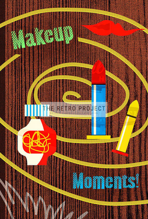 Makeup Moments Retro Mid Century Fifties Beauty Salon Product Illustration with Wood Texture Background