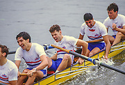Henley, UNITED KINGDOM. Exhausted after the Final of the Grand GBR M8+ left to right, Gavin STEWART, Pete BEAUMONT, Salih HASSAN and Richard STANHOPE.  1988 Henley Royal Regatta, Henley Reach. [Mandatory Credit Peter Spurrier/Intersport Images] 1988 Henley Royal Regatta. UK