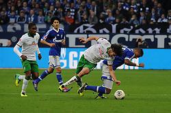 09.11.2013, Veltins Arena, Gelsenkirchen, GER, 1. FBL, Schalke 04 vs SV Werder Bremen, 12. Runde, im Bild Kevin Prince Boateng ( rechts Schalke 04 ) im Zweikampf mit Santiago Garcia ( links SV Werder Bremen / Action / Aktion ) // during the German Bundesliga 12th round match between Schalke 04 and SV Werder Bremen at the Veltins Arena in Gelsenkirchen, Germany on 2013/11/09. EXPA Pictures © 2013, PhotoCredit: EXPA/ Eibner-Pressefoto/ Thienel<br /> <br /> *****ATTENTION - OUT of GER*****