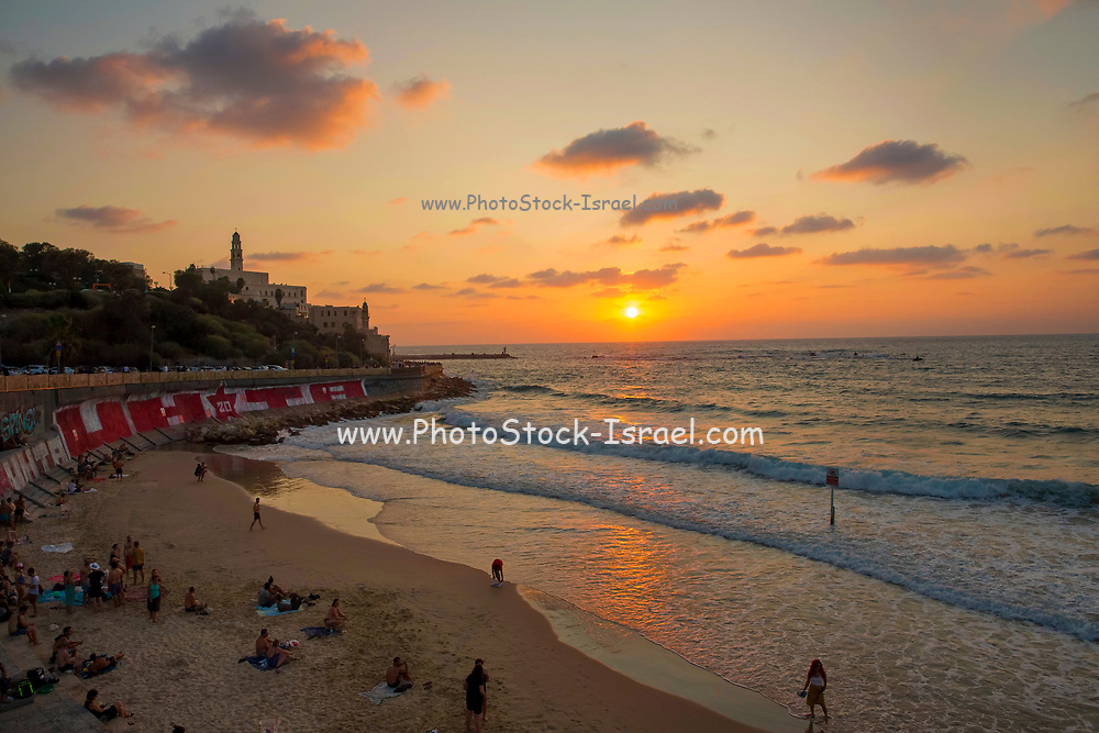 Jaffa and the Mediterranean Sea as seen from North at Dusk