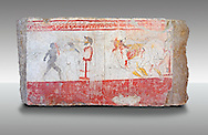 Lucanian fresco tomb painting . Paestrum, Andriuolo. Tomb 24.  (370-360 BC ) .<br /> <br /> If you prefer to buy from our ALAMY PHOTO LIBRARY  Collection visit : https://www.alamy.com/portfolio/paul-williams-funkystock - Scroll down and type - Paestum Fresco - into LOWER search box. {TIP - Refine search by adding a background colour as well}.<br /> <br /> Visit our ANCIENT GREEKS PHOTO COLLECTIONS for more photos to download or buy as wall art prints https://funkystock.photoshelter.com/gallery-collection/Ancient-Greeks-Art-Artefacts-Antiquities-Historic-Sites/C00004CnMmq_Xllw