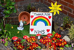 A small garden area outside Ecclesfield Library in sheffield thanks the NHS workers and Shop Assistants for helping to keep the UK running during the Covid-19 Pandemic<br /> <br /> 09 April 2020<br /> <br /> www.pauldaviddrabble.co.uk<br /> All Images Copyright Paul David Drabble - <br /> All rights Reserved - <br /> Moral Rights Asserted -