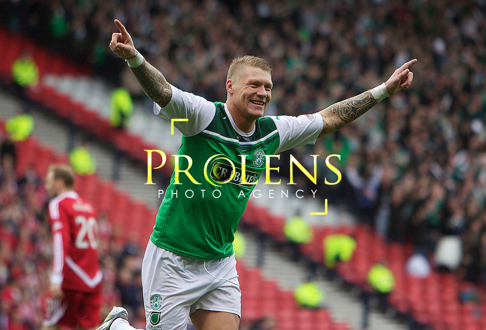 William Hill Scottish FA Cup Semi Final Aberdeen FC v Hibernian FC Season 2011-12.14-04-12...HIBS GARY O'CONNOR CELEBRATES AFTER PUTTING HIBS 1-0  UP  during the William Hill Scottish FA Cup Semi Final tie between Aberdeen FC and Hibernian FC with the Winner facing either Celtic or Hearts. Hibs are aiming for their first Scottish Cup win in 110 years and a possible All Edinburgh derby Final, with Aberdeen looking to salvage a highlight from a up and down season...At Hampden Park Stadium , Glasgow..Saturday 14th April 2012.Picture Mark Davison/ Prolens Photo Agency / PLPA