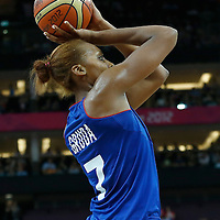 09 August 2012: France Sandrine Gruda takes a jumpshot during 81-64 Team France victory over Team Russia, during the women's basketball semi-finals, at the 02 Arena, in London, Great Britain.
