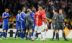 File photo dated 21-05-2008 of Chelsea's Didier Drogba is given a red card during the UEFA Champions League Final at the Luzhniki Stadium, Moscow, Russia.