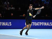 Tennis - 2019 Nitto ATP Finals at The O2 - Day Five<br /> <br /> Singles Group Bjorn Borg: Novak Djokovic (Serbia) vs. Roger Federer (Switzland)<br /> <br /> Roger Federer returns serve<br /> <br /> COLORSPORT/ASHLEY WESTERN
