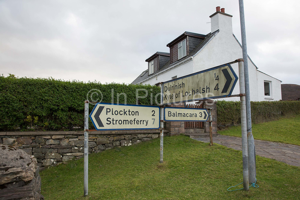 A road sign near the village of Duirinish on the 4th November 2018 in western Scotland in the United Kingdom. Duirinish is a settlement in Lochalsh near Plockton in Ross-shire, Scottish Highlands.