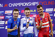 Podium, Men Omnium, Ethan Hayer (Great Britain) Gold medal, Elia Viviani (Italy) silver medal, Casper Von Folsach (Denmark) bronze medal, during the Track Cycling European Championships Glasgow 2018, at Sir Chris Hoy Velodrome, in Glasgow, Great Britain, Day 3, on August 4, 2018 - Photo Luca Bettini / BettiniPhoto / ProSportsImages / DPPI