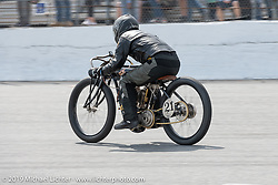 Shawn McLean aboard his 61 ci board track style Indian motorcycle racer in the Sons of Speed Vintage Motorcycle Races at New Smyrina Speedway. New Smyrna Beach, USA. Saturday, March 9, 2019. Photography ©2019 Michael Lichter.