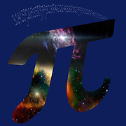 Digitally enhanced image of Greek letter Pi mathematical sign with the first several digits of the number in the background