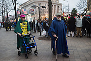 demonstrators with a zimmer frame. Inauguration of Donald Trump and demonstrators and various entrances,  Washington DC. 20  January 2017