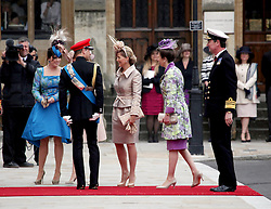 29 April 2011. London, England..Royal wedding day. Princesses Eugenie, Sophie and Anne with Prince Edward and Vice-Admiral (retired) Tim Laurence. Royal arrivals at Westminster Abbey..Photo; Charlie Varley.