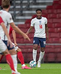 Raheem Sterling (England) under UEFA Nations League kampen mellem Danmark og England den 8. september 2020 i Parken, København (Foto: Claus Birch).