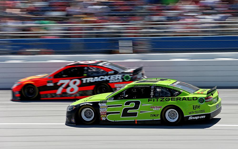 May 7, 2017; Talladega, AL, USA; NASCAR Cup Series driver Brad Keselowski (2) during the GEICO 500 at Talladega Superspeedway. Mandatory Credit: Peter Casey-USA TODAY Sports