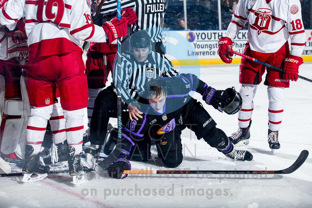 The Youngstown Phantoms lose 3-2 in overtime to the Dubuque Fighting Saints in Game 2 of the first round of the Clark Cup Playoffs at the Covelli Centre on April 16, 2019.<br /> <br /> Trevor Kuntar, forward, 16