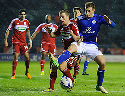 Leicester Forward Chris Wood (NZL) vies with Leicester Midfielder Ben Marshall (ENG) in the box during the first half of the match - Photo mandatory by-line: Rogan Thomson/JMP - Tel: Mobile: 07966 386802 18/01/2013 - SPORT - FOOTBALL - King Power Stadium - Leicester. Leicester City v Middlesbrough - npower Championship.