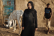 A woman with her son and donkey, Seheil Island