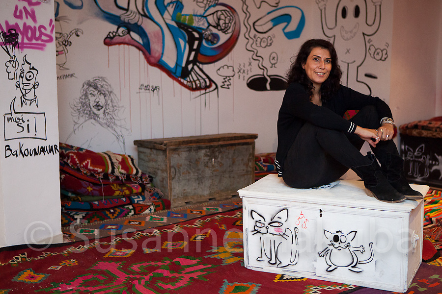 """Nadia Khiari.<br /> Painter and cartoonist. She created cartoon character Willis from Tunis during the revolution to comment on the happenings. The cartoons were published on Facebook and walls in various locations in Tunis.<br /> <br /> """"I was born with the revolution"""" – the revolution gave Nadia the opportunity to live her passion of drawing satirical and political cartoons. For her humour makes the intolerable tolerable, and she continues to comment on current events though her cartoon character by postings on FB & Twitter, and a monthly publication in a French magazine. She is a founding member of the first Satirical website in Tunisia """" YakaYaka""""."""