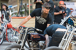 Friday night gathering before the Born Free Motorcycle Show 8 builder pre-party at the event grounds. Silverado, CA, USA. June 23, 2016.  Photography ©2016 Michael Lichter.