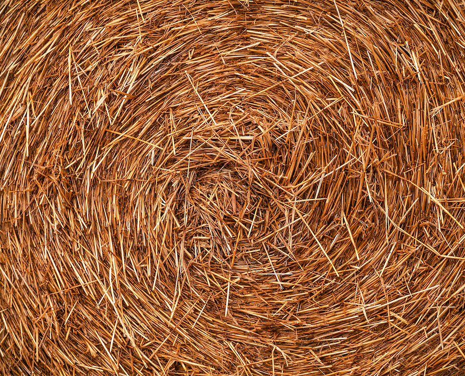 Detail of a large rolled straw bale in New Zealand.  Licensing and Open Edition Prints.