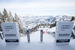 18.01.2016, Streif, Kitzbuehel, AUT, FIS Weltcup Ski Alpin, Vorberichte, im Bild Blick aus dem Starthaus der Streif (1665m) // View from the start house of the Streif (1665m), Preliminary reports for the men's FIS Ski Alpine World Cup at the Streif Course in Kitzbuhel, Austria on 2016/01/18. EXPA Pictures © 2016, PhotoCredit: EXPA/ Johann Groder