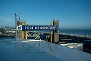Port of Roscoff from the deck of a Brittany Ferries roll-on / roll-off car and vehicle ferry on 26th September 2021 in Roscoff, Brittany, France. Brittany Ferries is the trading name of the French shipping company, BAI Bretagne Angleterre Irlande S.A. founded in 1973 by Alexis Gourvennec, that operates a fleet of ferries and cruise ferries between France and the United Kingdom.