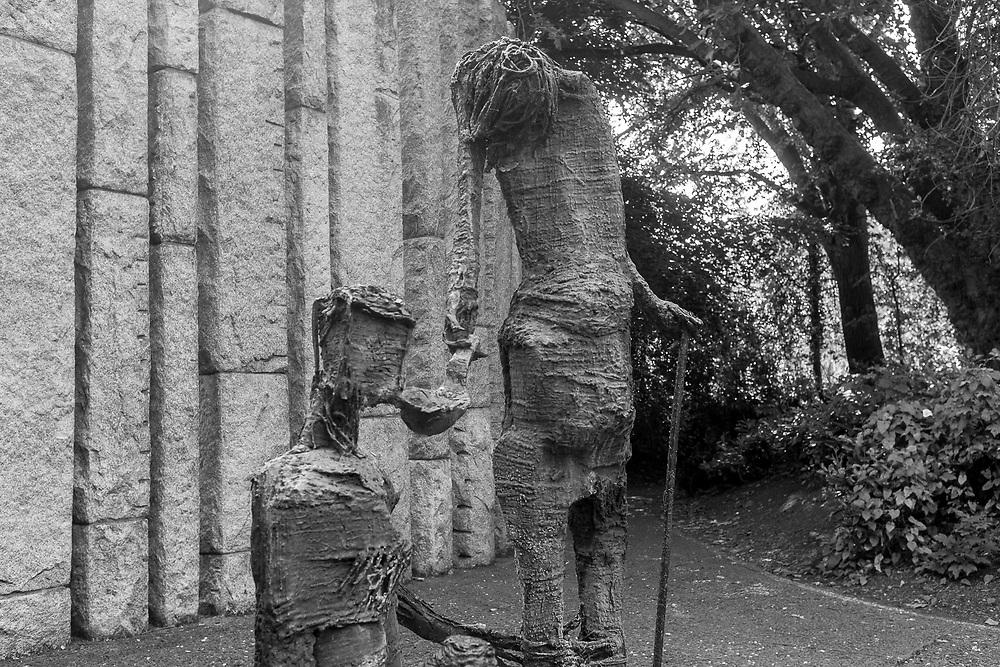 Irish Famine statue at St. Stephen's Green, Dublin, Ireland.