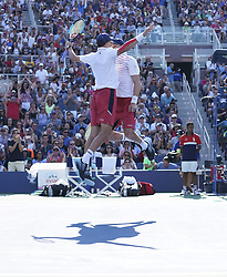 September 4, 2017 - New York, New York, United States - Bob & Mike Bryan of USA celebrate victory against Oliver Marach of Austria & Mata Pavic of Croatia at US Open Championships at Billie Jean King National Tennis Center  (Credit Image: © Lev Radin/Pacific Press via ZUMA Wire)