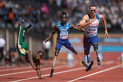 Review of the Year 2017: July: South Africa's Ntando Mahlangu trips in action as Great Britain's Richard Whitehead (right) wins the Men's 100m T42 first heat during day four of the 2017 World Para Athletics Championships at London Stadium.