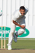 Ben Mike bowling during the Specsavers County Champ Div 2 match between Leicestershire County Cricket Club and Lancashire County Cricket Club at the Fischer County Ground, Grace Road, Leicester, United Kingdom on 25 September 2019.