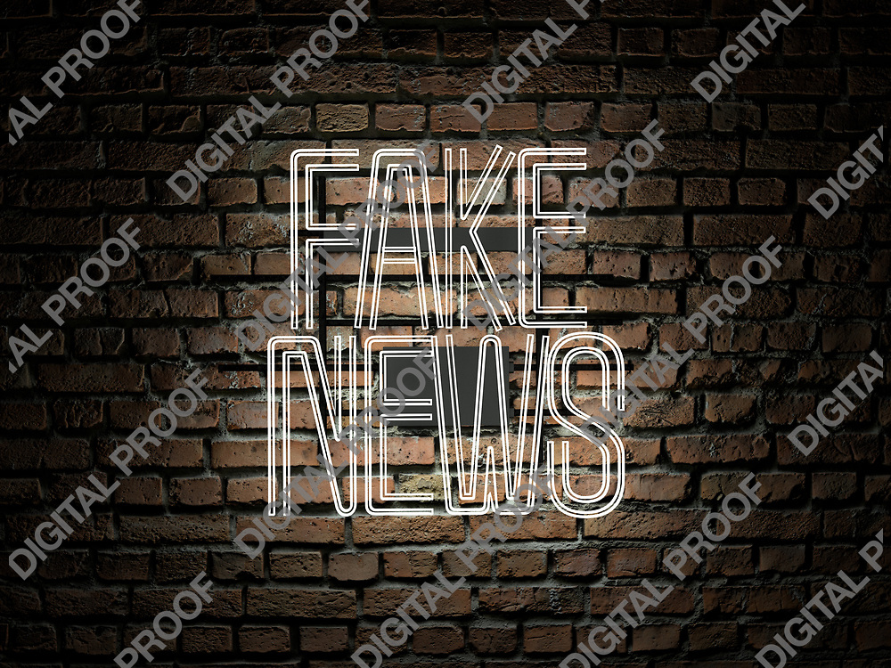 Fake News Neon Sign white color over a red brick wall at dark - Illustration Computer Rendered - Illustration