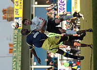 Photo: Ian Hebden.<br />Luton Town v Derby County. Coca Cola Championship. 18/03/2006.<br />Derbys Darren Moore (L) and Lutons Steve Robinson (L).