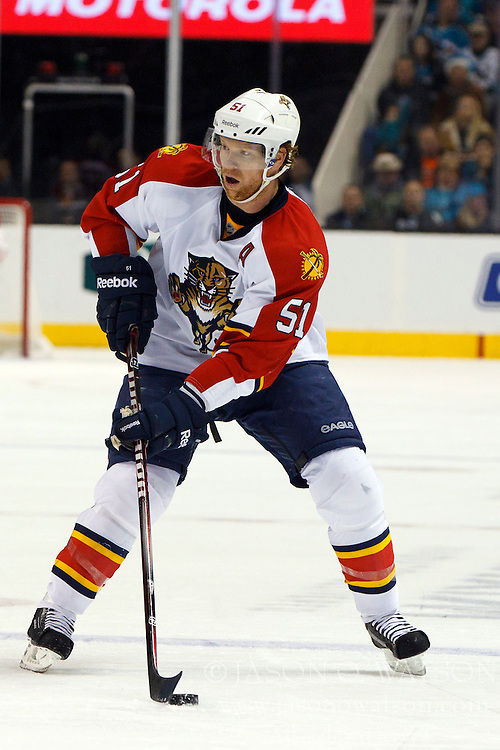 Dec 3, 2011; San Jose, CA, USA; Florida Panthers defenseman Brian Campbell (51) skates with the puck against the San Jose Sharks during the second period at HP Pavilion.  Mandatory Credit: Jason O. Watson-US PRESSWIRE