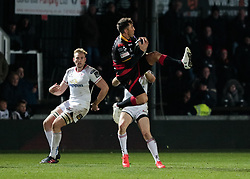 Dragons' Gavin Henson claims the high ball<br /> <br /> Photographer Simon King/Replay Images<br /> <br /> Guinness Pro14 Round 10 - Dragons v Ulster - Friday 1st December 2017 - Rodney Parade - Newport<br /> <br /> World Copyright © 2017 Replay Images. All rights reserved. info@replayimages.co.uk - www.replayimages.co.uk