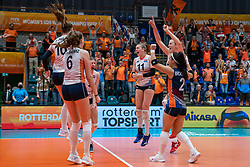 Netherlands celebrate after the 3-1 win against USA during United States - Netherlands, FIVB U20 Women's World Championship on July 15, 2021 in Rotterdam