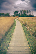 Footpath from Snape to Iken along the banks of the river Alde with distant male figure in Suffolk, England, UK