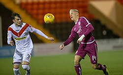 Airdrie's Kieran Macdonald and Arbroath's Callum Smith. Airdrie 0 v 1 Arbroath, Scottish Football League Division One played 15/12/2018 at Airdrie's Excelsior stadium.