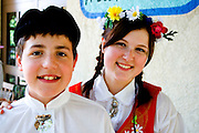 Kids wearing traditional folk costumes of Sweden Svenskarnas Dag Swedish Heritage Day Minnehaha Park Minneapolis Minnesota USA