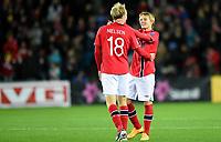 Fotball<br /> UEFA Euro 2016 Matchday 3<br /> Norge v Bulgaria / Norway v Bulgaria 2:1<br /> 13.10.2014<br /> Foto: Morten Olsen, Digitalsport<br /> <br /> Håvard Nielsen (18) - Eintracht Braunschweig / NOR<br /> Matchvinner<br /> <br /> Martin Ødegaard (9) - Strømsgodset / NOR<br /> Became the youngest ever player to participate in an EURO game 15 years 301 days