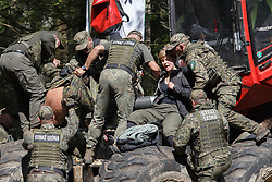 August 29, 2017 - Bialowieza Forest, Poland - Forest guards remove environmental activists from several countries during an action in the defense of one of the last primeval forests in Europe, Bialowieza forest.  (Credit Image: © FORUM via ZUMA Press)