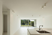 Architecture, new trend design, empty room with kitchen
