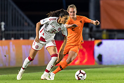 (L-R) Nadia Nadim of Denmark women, Desiree van Lunteren of Netherlands women during the FIFA Women's World Cup 2019 play off first leg qualifying match between The Netherlands and Denmark at the Rat Verlegh stadium on October 05, 2018 in Breda, The Netherlands