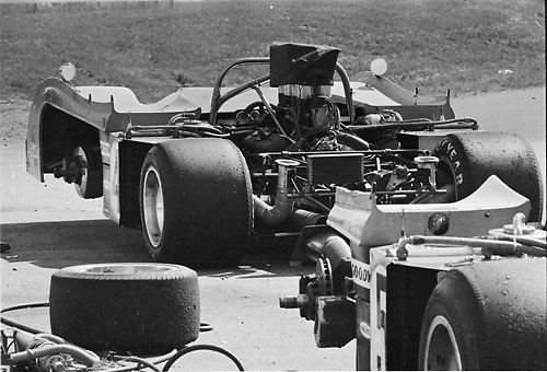 Peter Revson's McLaren M20 (4) with Denny Hulme's (5) during practice for the 1972 Can-Am at Donnybrooke, Minn; Photo by Pete Lyons 1972/ © Pete Lyons / petelyons.com;