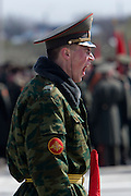 Albina, Russia, 22/04/2008..A Russian soldier yawns as he practices for the forthcoming 63rd Victory Day celebrations on May 9, marking the end of the Second World War, referred to in Russia as the Great Patriotic War.