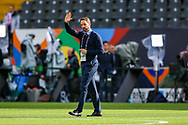 England Head Coach Gareth Southgate comes onto the pitch to acknowledge fans during the UEFA Nations League semi-final match between Netherlands and England at Estadio D. Afonso Henriques, Guimaraes, Portugal on 6 June 2019.