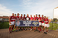 University of Utah celebrates winning the Plate trophy at Red Bull Uni 7s Rugby Qualifiers at Infinity Park in Glendale, CO, USA, on 25 August, 2016.