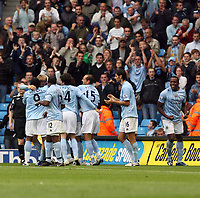 Photo: Paul Greenwood.<br />Manchester City v Aston Villa. The FA Barclays Premiership. 16/09/2007.<br />Man City's Michael Brown (L) is mobbed by team mates